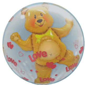 Ballon Bär Love Liebe Bubble Heliumballon Folienballon