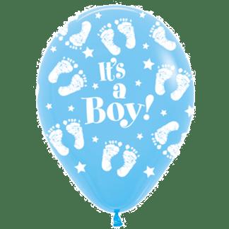 Sempertex Ballons Geburt Junge Blau Füßen