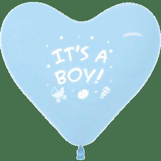 Sempertex Herzballon 30 cm It´s a Boy Hellblau 12er
