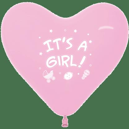 Sempertex Herzballon 30 cm It´s a Girl Rosa 12er