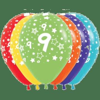 Geburtstag Ballons Fashion Zahl 9 Sterne