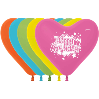 Sempertex Birthday Herzballons 30 cm Fashion 12er