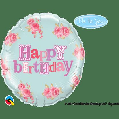 Folienballon Happy Birthday Rosen Ballon Heliumballon Qualatex