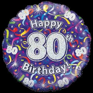Folienballon Geburtstag Zahl 80 Luftschlangen Blau
