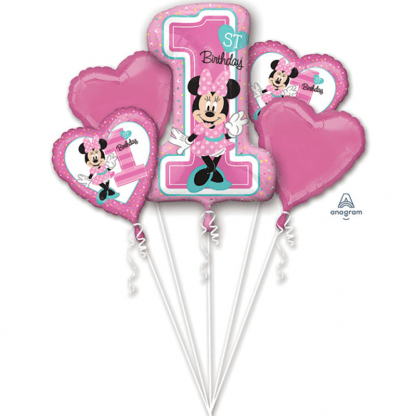 Folienballon Sortiment Minnie Mouse 1. Geburtstag Rosa