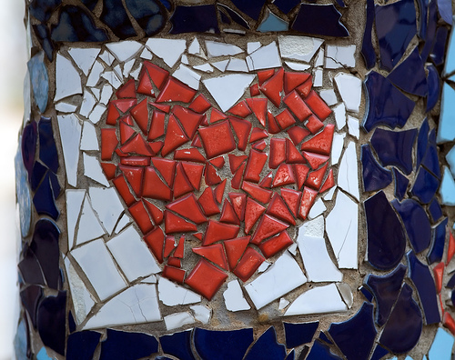 Broken heart made of tiles
