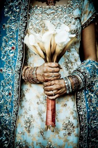 Pakistani bride with flowers