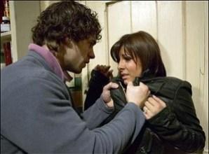 Violent abusive husband choking his wife