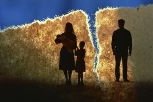 Broken family, divorce, split between husband and wife