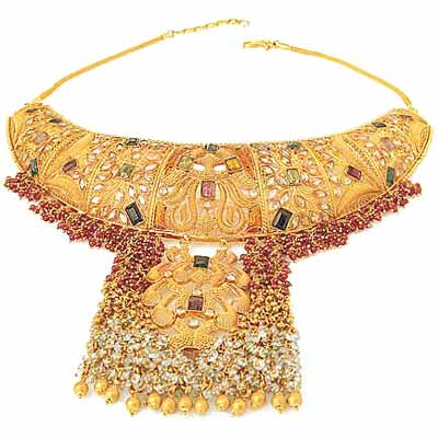 A traditional Arab gold bridal necklace