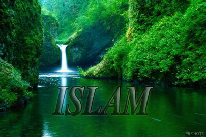 islam and waterfall, river, mountain stream