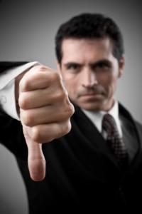Man saying no, refusing, refuses