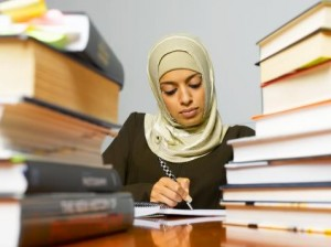 Muslim woman studying, books, school