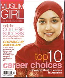 Muslim girl in hijab on a magazine cover.