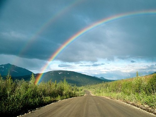 Double rainbow and road ahead