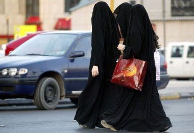 Saudi Arabian women walking