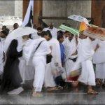 Pilgrims wait in queues at the Hajj