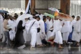 Pilgrims wait in queues at the Hajj
