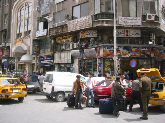 Downtown Damascus traffic jam