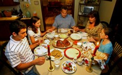 The Al-Zaim family of Duxbury, Massachusetts sits, gathered together for their dinner after 7pm on September 14th, 2008, to break their Ramadan Fast. (Justine Hunt/Globe Staff Photo) #