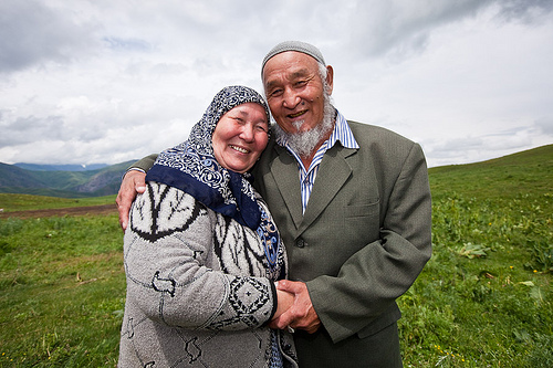 An elderly Kyrgyz Muslim couple