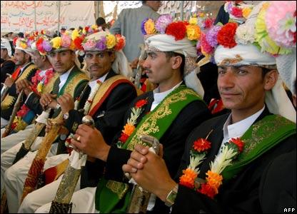 Bridegrooms at mass wedding in Yemen