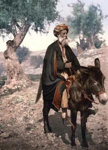 Man riding a donkey.