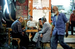 Egyptian men playing backgammon