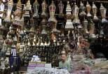 Egyptian men in a lantern shop