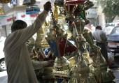Egyptian man shops for Ramadan lantern