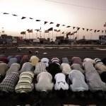 Libyan men praying in Benghazi on the first day of Ramadan 2011.