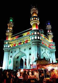 Night bazaar around Charminar, Hyderabad at Eid time