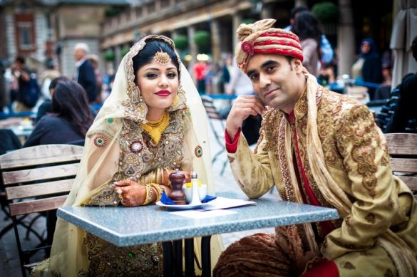 UK Bangladeshi Muslim couple in wedding outfits