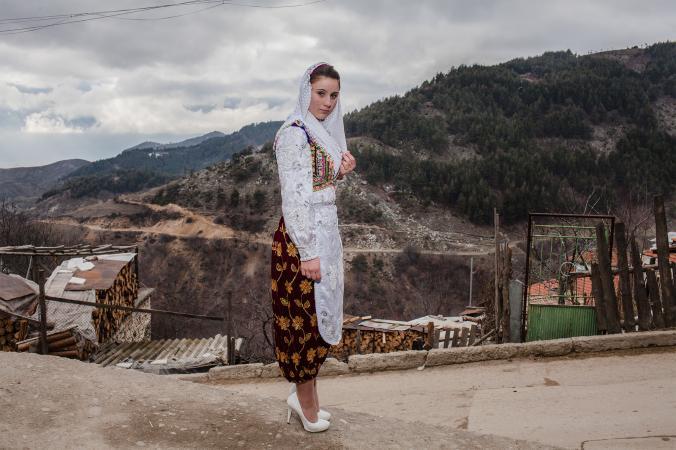 Young Bulgarian Muslim woman on her way to wedding celebration