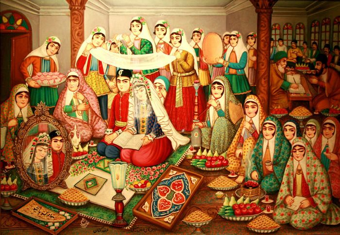Painting of traditional Iranian wedding