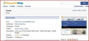 Zawaj El Halal est maintenant sur Blog Networks