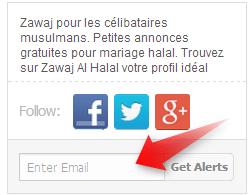 Entrez votre adresse E-Mail pour reçevoir les dernières annonces zawaj