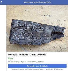 """Des """"morceaux"""" de la charpente de Notre-Dame mis en vente sur Facebook"""