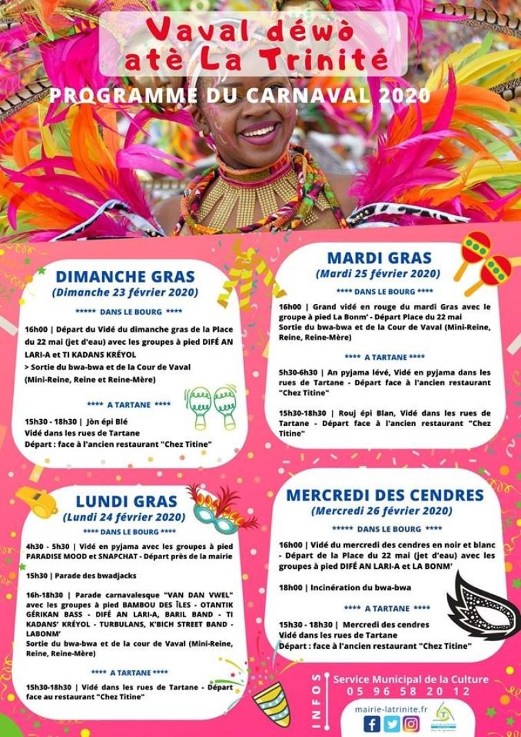 Programme du carnaval 2020 de Trinité.