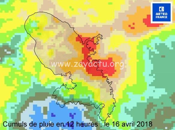 Cumul de pluie du 16 avril 2018