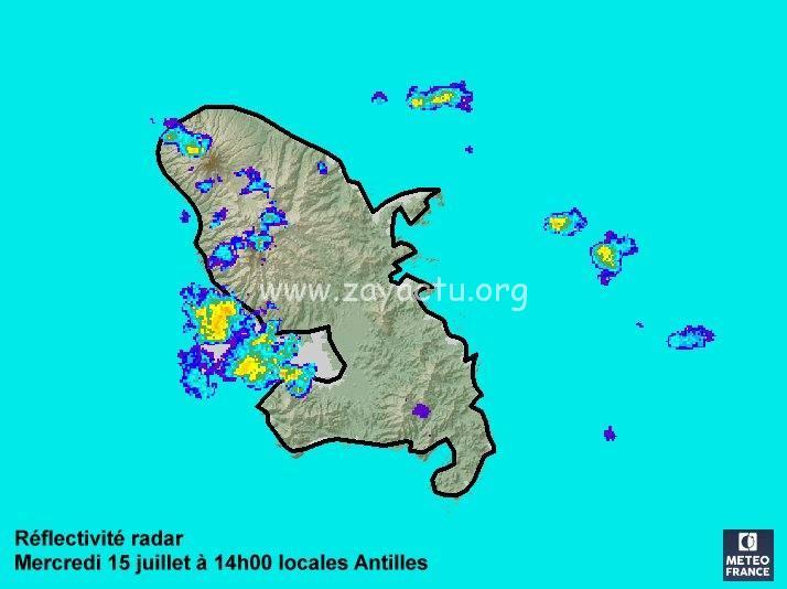 Réflectivité radar météo France