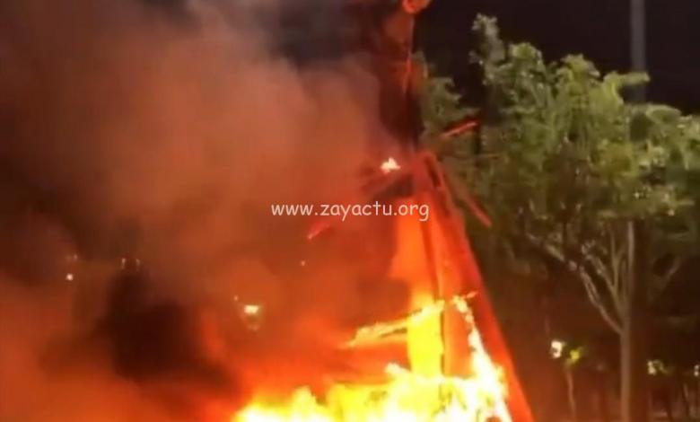 Statue Pierre Belain d'Esnambuc incendiée à FDF