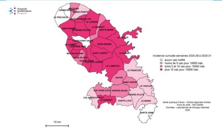 Communes de la Martinique touchées par le virus de la dengue.