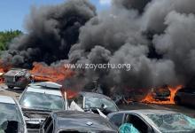 Photo de Important incendie dans une casse automobile au Lamentin, une personne a été blessée (VIDEOS)