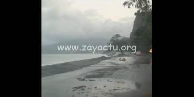 Houle sur la côte Caraïbe au niveau de la route du Carbet.