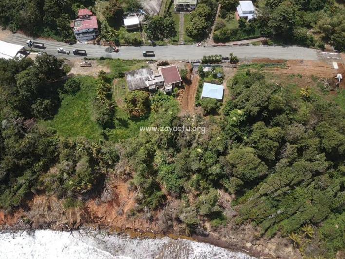 Photo aérienne des travaux à Fonds St Jacques à Sainte-Marie. Photo : réseaux sociaux.