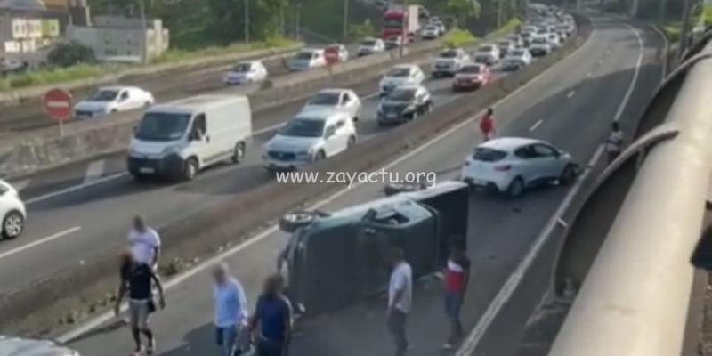 Accident sur l'autoroute au niveau du pont de Chateauboeuf.