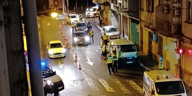 Un contrôle routier à Fort-de-France à l'entrée du centre-ville. Photo : réseaux sociaux.
