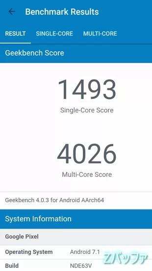 PixelのGeekbench4スコア