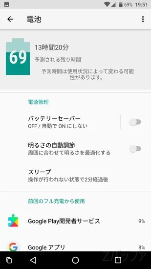 Android8.0のバッテリー管理画面